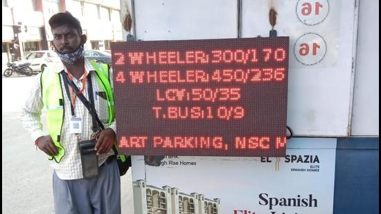 A display board showing occupancy at a parking lot in Chandigarh.