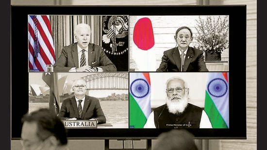 Even after Japanese Prime Minister Yoshihide Suga (top right) demits office, New Delhi can expect the relationship to strengthen further. India and Japan must continue to work together to build resilient supply chains, closer defence technology ties, and a joint strategy towards China (POOL/AFP via Getty Images)