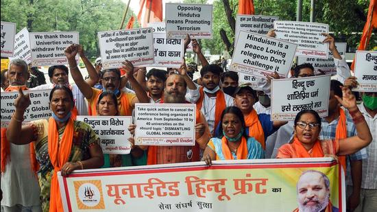 Members of United Hindu Front protest against an online seminar titled 'Dismantling Global Hindutva' hosted and supported by North American universities and demand cancellation of the event, in New Delhi last week. (ANI)