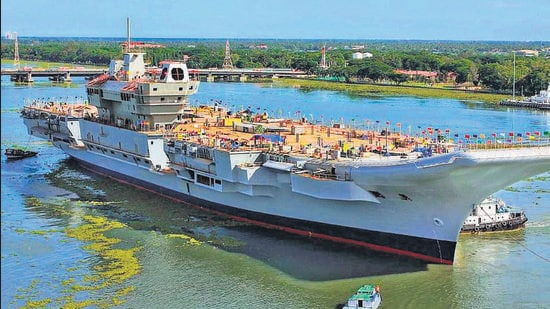 INS Vikrant, the first indigenously-built, was undocked in 2015 at a simple ceremony at the Cochin Shipyard Limited. (File photo)