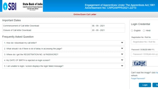 SBI apprentice admit card 2021:. Candidates can download their admit card online at sbi.co.in/ careers.