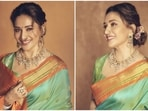 Madhuri Dixit charms her way into our hearts in silk saree perfect for Ganesh Chaturthi 2021(Instagram/@madhuridixitnene)