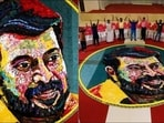 Mammootty fan creates giant portrait using 600 cellphones on his 70th birthday(Twitter/ModiuAthif)