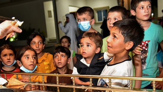 Unicef along with its partner agencies have been involved in registering the evacuees who have been airlifted out of Kabul since August 14. (Qatar Government Communications Office via AP)