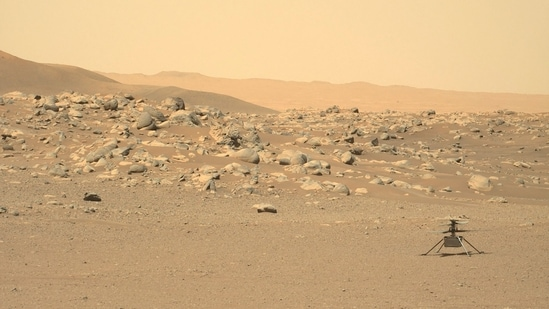 American space agency Nasa's Ingenuity Mars Helicopter captured by Mars Perseverance rover.(AFP Photo)