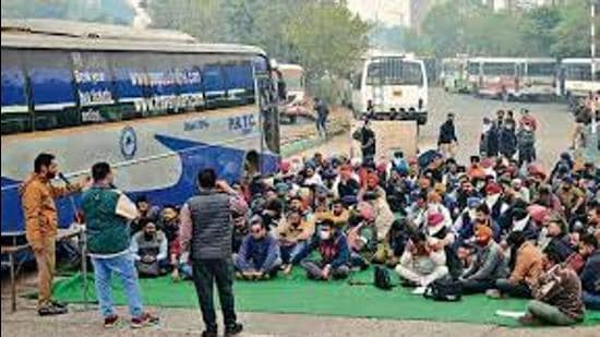 Women passengers, who avail free travel facility in Punjab Roadways buses, were a harried lot as they had to pay for travel in private buses in Ludhiana because of the strike. (Representative Image/HT File)