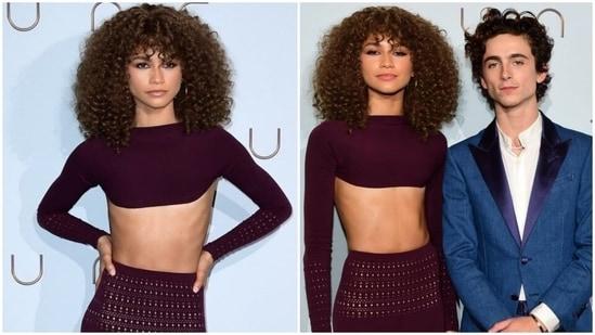 Zendaya brings the ultimate drama to Dune Paris premiere in plum bralette and fur pencil skirt(Instagram/@Guatemovie)