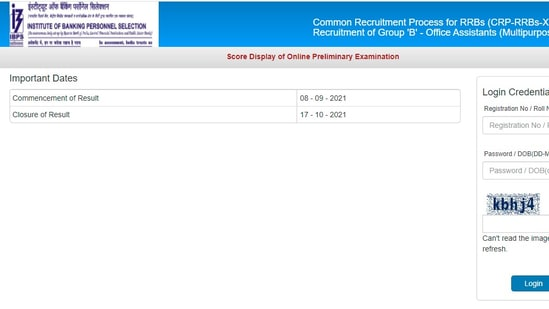 IBPS Office Assistant Prelims score cards 2021: The score cards can be viewed until September 17.(ibps.in)