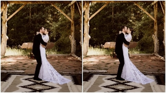The 32-year-old actor walked down the aisle in an embroidered high-neck gown from the celebrated American fashion house Ralph Lauren. Lily's wedding gown featured a long train, lace embroidery, and sheer lace sleeves. A lace veil worn as a hooded cape completed her wedding look.(Instagram/@lilyjcollins)