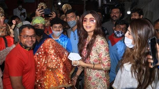 Shilpa Shetty brings home an idol of Lord Ganesha ahead of Ganesh Chaturti.(Varinder Chawla)