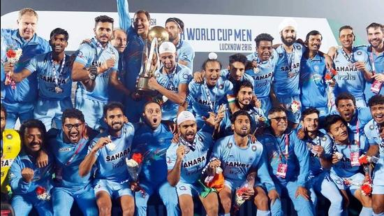 Indian team celebrating their win at the 2016 Junior Men's Hockey World Cup in Lucknow. (HT File Photos)
