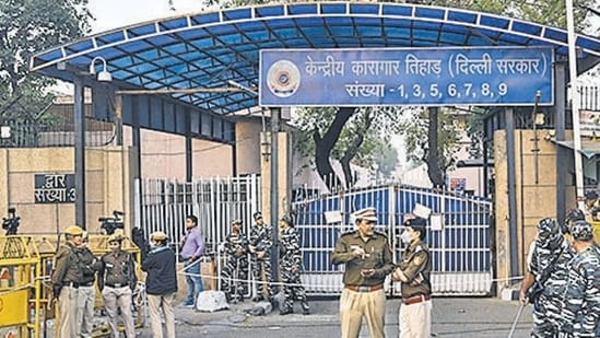 Deputy superintendent Meena told the investigating officer that they conducted an inspection inside Gujjar's cell on April 3 afternoon and found a cell phone, a data cable, and a knife.(Biplov Bhuyan/HT file photo)