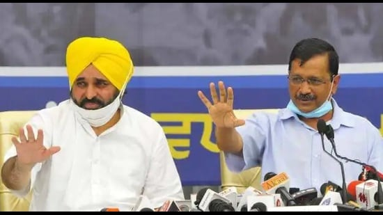 Aam Aadmi Party Punjab president with Bhagwant Mann with party national convener and Delhi chief minister Arvind Kejriwal.