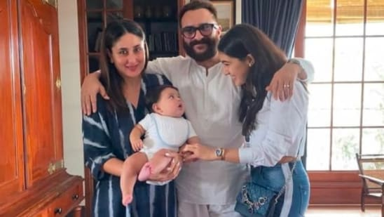 Saif Ali Khan poses with Kareena Kapoor, Sara Ali Khan and Jeh.(Instagram/@saraalikhan95)