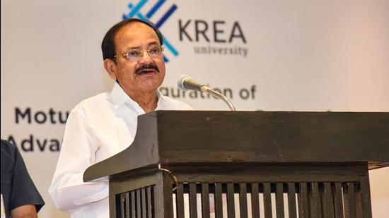 Vice President M Venkaiah Naidu addresses the gathering after inaugurating the Moturi Satyanarayana Centre for Advanced Study in Humanities and Social Sciences at KREA University. (PTI)