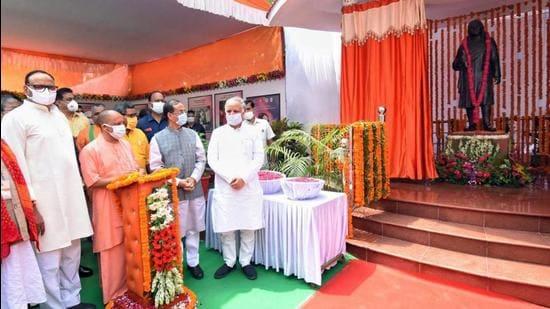 Uttar Pradesh chief minister Yogi Adityanath said the unveiling of the statue of Bhartendu Harishchandra was the government's tribute to him. (PTI)