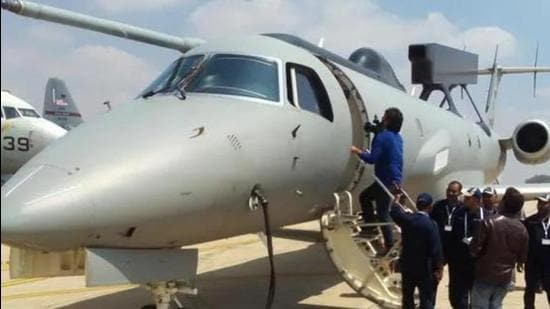 The first indigenously developed airborne early warning and control (AEW&C) system, called Netra, was handed over to the IAF in February 2017, on the first day of Aero India-2017 in Bengaluru. (HT PHOTO.)