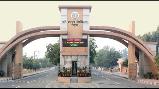 According to the NIRF 2021 rankings announced by Union education minister Dharmendra Pradhan, Rohtak's Maharshi Dayanand University (MDU)'s ranking has slipped from last year's 76th position to 78th. (HT File)