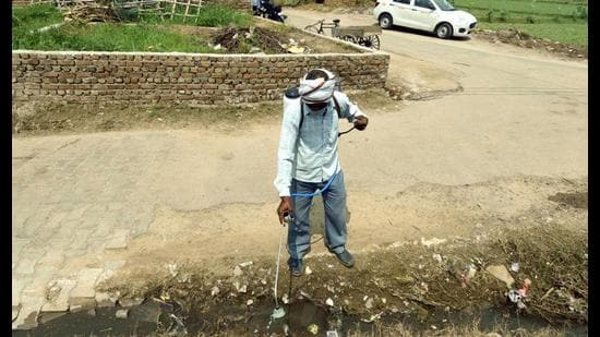 A man sprays insecticide on a street side open sewage in Koh Village of Mathura. (HT Photo)