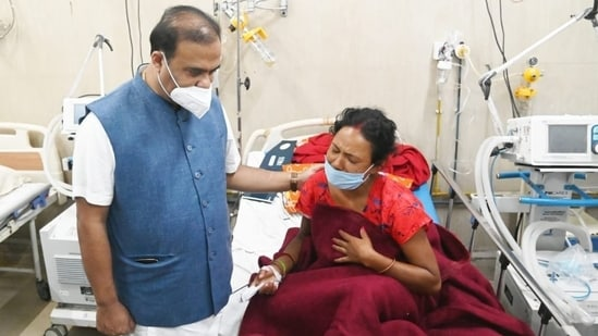 Assam CM Himanta Biswa Sarma met passengers who were injured in the boat accident. (ANI)