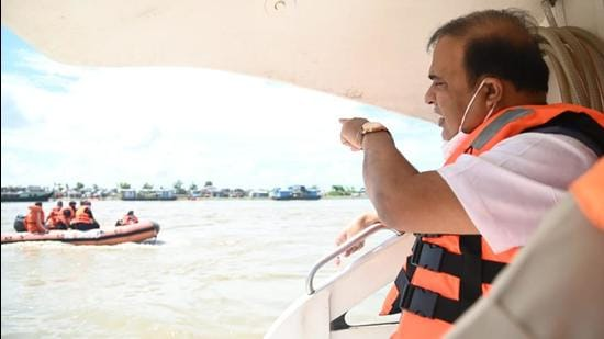 Assam chief minister Himanta Biswa Sarma inspecting the boat accident site on Thursday. (DIPR.)