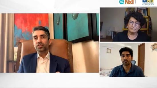 Abhinav Bindra in conversation with Vijender Singh and journalist Sharda Ugra.(HT)