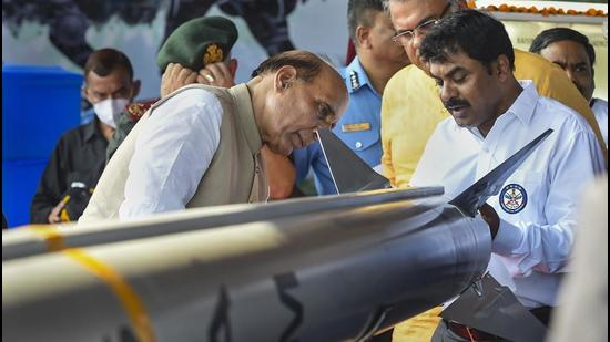 Jaisalmer: Defence Minister Rajnath Singh looks at MRSAM, or Barak 8 air defence system at an event in Jaisalmer to formally mark its induction into the IAF on Thursday. (PTI)