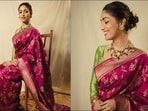 Yami Gautam's handwoven deep pink zari silk sari is perfect ethnic look for Ganesh Chaturthi celebratons(Instagram/manishamelwani/yamigautam)