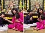 Shilpa Shetty celebrated Ganesh Chaturthi with her children Viaan and Samisha.
