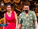 Shilpa Shetty and Sanjay Dutt on Super Dancer 4.