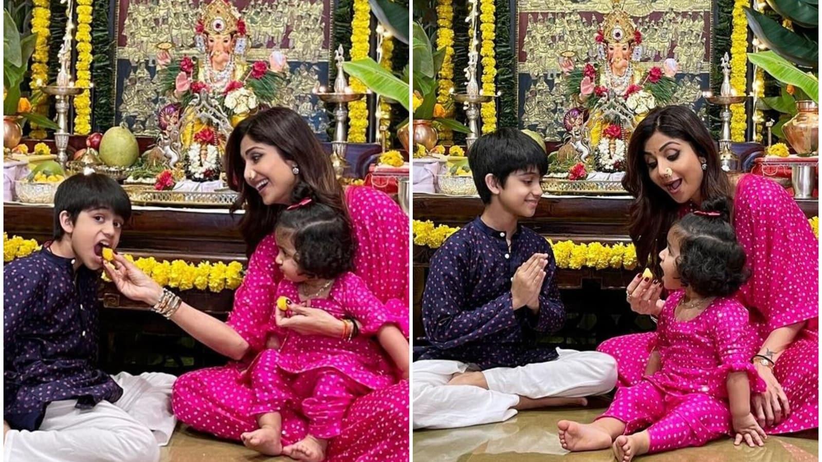 Shilpa Shetty twins with daughter Samisha at Ganesh Chaturthi celebrations, feeds son Viaan laddoo. See photos   Bollywood - Hindustan Times