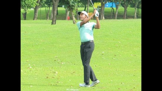 Veer Ahlawat in action during TATA Steel PGTI Players Championship at Panchkula Golf Club on Friday. (HT PHOTO)