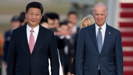 US-China relations: A 2015 file shows Chinese President Xi Jinping and Joe Biden, then the vice-president of the United States of America, walking down the red carpet on the tarmac during an arrival ceremony in Andrews Air Force Base, Md.(File Photo / AP)