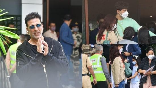Akshay Kumar, Twinkle Khanna and their children, Aarav and Nitara, spotted at Mumbai airport.(Varinder Chawla)