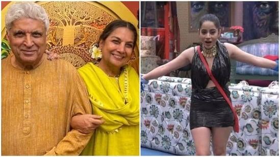 Shabana Azmi with Javed Akhtar (L) and Bigg Boss OTT contestant Urfi Javed.