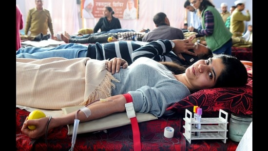 Blood donation camps were organised at eight locations in Chandigarh, five each in Punjab, Haryana and Himachal Pradesh and one each in UP and Delhi. (Representative image)