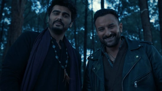 Bhoot Police movie review: Saif Ali Khan and Arjun Kapoor in a still from the new horror-comedy, out on Disney+ Hotstar.