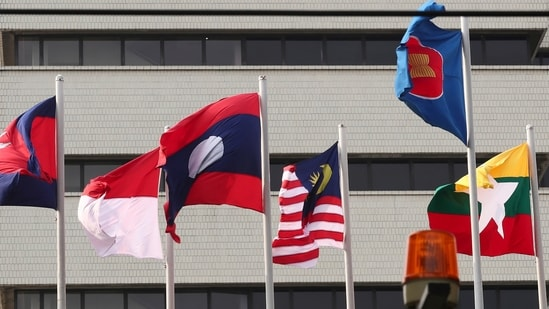 In this April 22, 2021, file photo, flags of some of the ASEAN member countries fly at the ASEAN Secretariat in Jakarta, Indonesia. (AP Photo/Tatan Syuflana, File)(AP)
