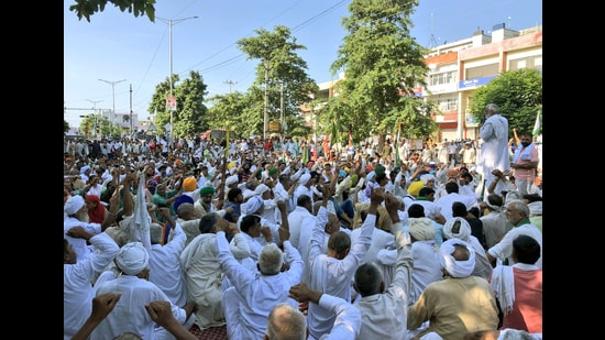 Farmers started their protest in Karnal on September 7. (ANI)
