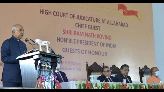 President Ram Nath Kovind speaking at the function after laying the foundation stone of the Uttar Pradesh National Law University in Prayagraj and a new building complex of the Allahabad High Court, on Saturday. (HT Photo)