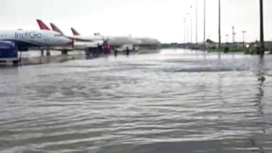 Waterlogging seen at Indira Gandhi International Airport (Terminal 3) after the national capital received heavy rainfall, in New Delhi.(ANI Photo)