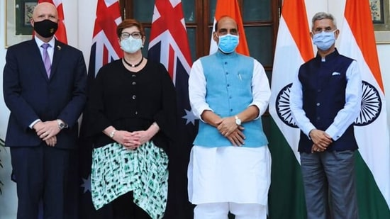 The leaders of India and Australia before the beginning of the 2+2 dialogue in New Delhi.