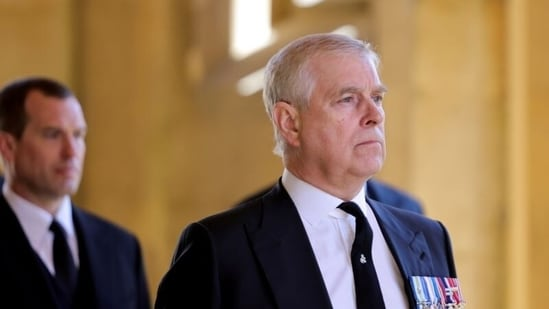 Britain's Prince Andrew, Duke of York, looks on during the funeral of Britain's Prince Philip on the grounds of Windsor Castle in Windsor, Britain, April 17, 2021.(File Photo / REUTERS)