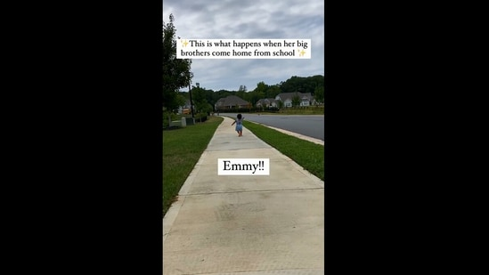 The image shows the kid running towards her brothers.(Instagram/@almostindianwife)