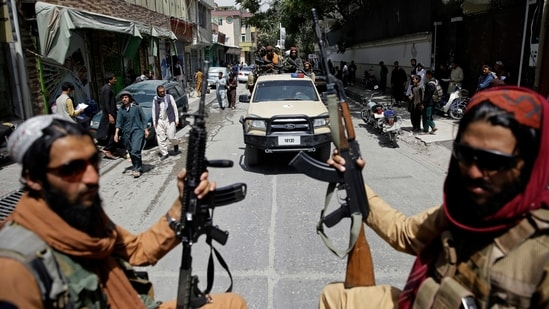 Taliban fighters patrol the streets of Kabul, in Afghanistan,(AP Photo)