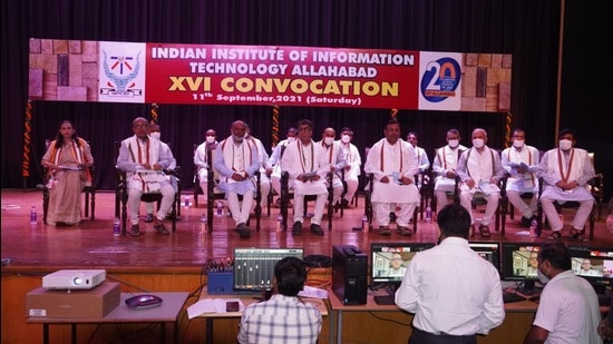 Convocation ceremony under way at IIIT-A on Saturday. (ht photo)
