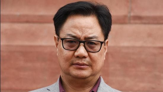Union Law minister Kiren Rijiju was given the award during the Foundation Day celebration on Saturday. (Sonu Mehta/HT PHOTO)