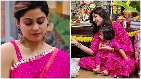 Shamita Shetty and Shilpa Shetty wore matching outfits.