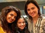 Priyanka Chopra and Lara Dutta with Saira.