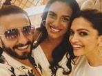 Ranveer Singh's selfie with Deepika Padukone and PV Sindhu.